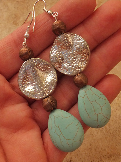 TURQUOISE MIXED METALS EARRINGS