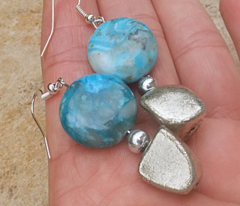 EARRINGS CRAZY LACE AGATE TURQUOISE