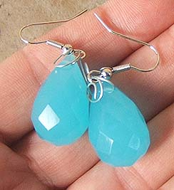TURQUOISE QUARTZ FACETED EARRINGS